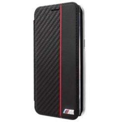 BMW M-Carbon Book Case Black για το iPhone X - BMBKTRPXCAPRBK-0