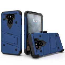 ZIZO BOLT Cover (12 ft. Military Grade Drop Tested) w/ Kickstand + Holster + 9H Tempered Glass Screen Protector, Lanyard - BLUE/BLACK For LG G6 - 1BOLT-LGG6-BLBK-0