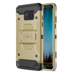 Zizo Tough Armor Style 2 Case w/ Holster in ZV Blister Packaging - Gold/Black For Samsung Galaxy S8 1TGAM-SAMGS8-GDBK-0