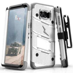 ZIZO BOLT Cover (12 ft. Military Grade Drop Tested) w/ Kickstand + Holster + 9H Tempered Glass Screen Protector, Lanyard - WHITE/GRAY For SAMSUNG GALAXY S8 PLUS - 1BOLT-SAMGS8PLUS-WHGR-0