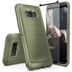 ZIZO Dynite Case by CLICK CASE for Samsung Galaxy S8 - Military Grade Drop Tested, Featuring Anti-Slip Grip and Full 9H Clear Tempered Glass Screen Protector.Camo Green. 1DYN-SAMGS8-CG-0