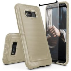 ZIZO Dynite Case by CLICK CASE for Samsung Galaxy S8 - Military Grade Drop Tested, Featuring Anti-Slip Grip and Full 9H Clear Tempered Glass Screen Protector.Beige. 1DYN-SAMGS8-BE-0