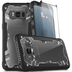Zizo Proton 2.0 Heavy Duty Case BLACK / TRANS CLEAR for Samsung Galaxy S8 - Military Grade Drop Tested w/ 9h Tempered Glass - 1PRN2-SAMGS8-BKCL-0