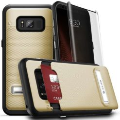 ZIZO Phase Series by CLICK CASE For Samsung Galaxy S8 Plus - Shockproof Cover with Curved 9H Full Glass Screen Protector, Hidden Wallet Back and Kickstand - Gold/Black.1PHS-SAMGS8PLUS-GDBK-0