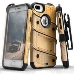 ZIZO BOLT Cover Military Grade Drop Tested w/ Kickstand, Holster + 9H Tempered Glass Screen Protector, Lanyard - Gold/Black For iPhone 7/8 Plus - 1BOLT-IPH7PLUS-GDBK-0