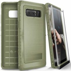 ZIZO Dynite Case by CLICK CASE for Samsung Galaxy Note 8 -Military Grade Drop Tested, Featuring Anti-Slip Grip and Full 9H Clear Tempered Glass Screen Protector.Camo Green. 1DYN-SAMGN8-CG-0