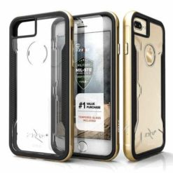 Zizo Shock Refined Aluminum Metal Bumper Hybrid Case GOLD + 9h Tempered Glass Protection for iPhone 7/8 Plus, 1SHK-IPH7PLUS-GD-0