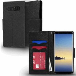 ZIZO Flap Wallet Pouch with TPU Inside For Samsung Galaxy Note 8 in ZV Blister Packaging - Black Leather 1WTPH-SAMGN8-BKBK-0