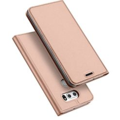 DUX DUCIS Skin Pro Series Flip Leather Wallet για το LG G7 ThinQ (Ροζ Χρυσό)