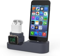 AhaStyle Silicon Stand 3in1 Dock PT28 για Apple AirPods, iPhone & iWatch Dark - Grey